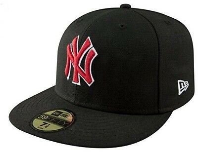 818f3bdfca8f7 New Era NEW YORK YANKEES NY 5950 Black Scarlet Red Cap MLB Baseball Fitted  Hat