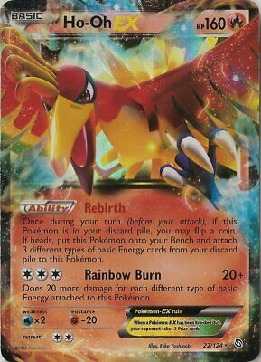 1x Ho-Oh-EX - 22/124 - Holo Rare ex Lightly Played Pokemon BW - Dragons Exalted