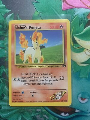 NM/M Blaine's Ponyta 64/132 Gym Challenge Unlimited Pokemon Card