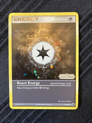 React Energy 82/92 Stamped Reverse Holo Foil - EX Legend Maker Pokemon Card