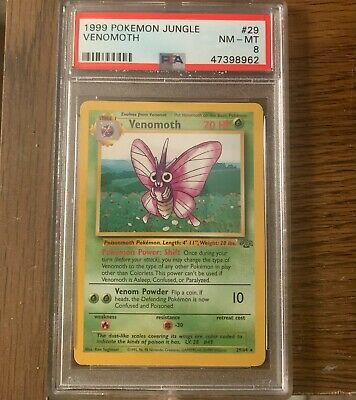 Pokemon Unlimited Jungle Rare Venomoth Non Holo Psa 8 NM-MT 29/64