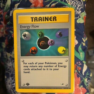 Pokemon Energy Flow Trainer Gym Heroes 122/132 NM Near Mint 1st Edition Card