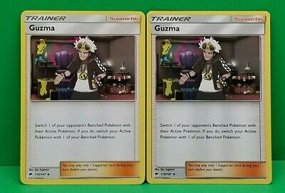 Pokemon  SM BURNING SHADOWS X2 GUZMA 115/147 UNCOMMON NM/MINT