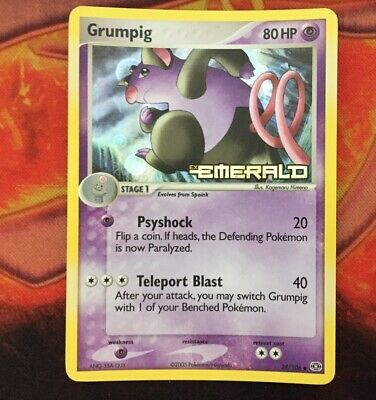 Grumpig 29/106 Reverse Holo Pokemon Card EX Emerald Pokemon Trading Card Game NM