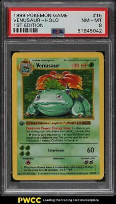 1999 Pokemon Base Set 1st Edition Shadowless Holo Venusaur #15 PSA 8 NM-MT
