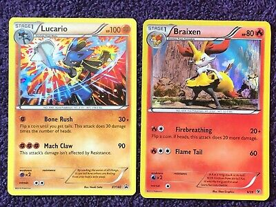 Pokemon Cards  Lucario Xy140 Holo Black Star Promo + Braixen 9/39 Holo Nice