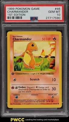 1999 Pokemon Base Set 1st Edition Shadowless Charmander #46 PSA 10 GEM MINT