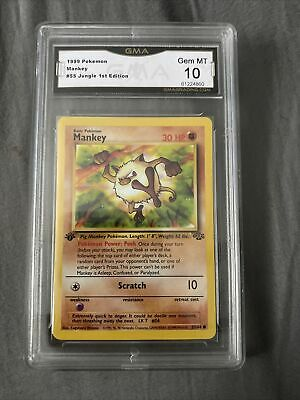 Pokemon MANKEY #55 1st Edition Jungle GMA 10. 1999