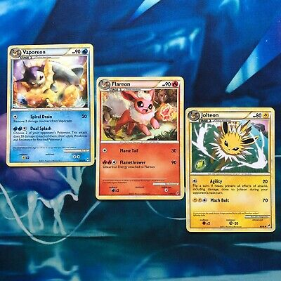 Jolteon Flareon Vaporeon Eevee Set - Call of Legends 2011 Pokemon Card  LP / NM