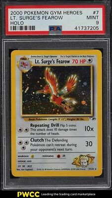 2000 Pokemon Gym Heroes Holo Lt. Surge's Fearow #7 PSA 9 MINT