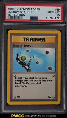 1999 Pokemon Fossil 1st Edition Energy Search #59 PSA 10 GEM MINT