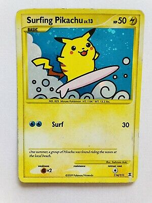 Pokemon Rising Rivals Secret Rare Holo Surfing Pikachu #114/111 HP