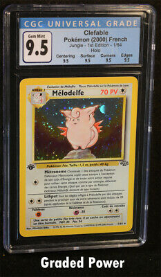Pokemon Jungle 1st Edition French Clefable CGC 9.5 Quad Holo FRENCH (1355) 1/64