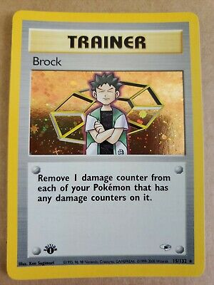 BROCK TRAINER -HOLO- 1st Edition Gym Heroes 15/132 Pack Fresh Pokemon Card