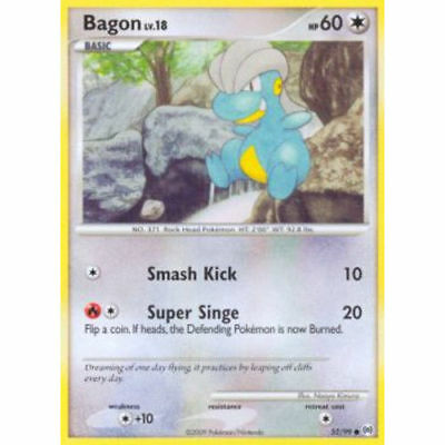 Pokemon Bagon Lv.18 52/99 Common Nm Card   Platinum Arceus