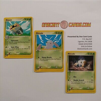 Pokemon Cards: Ninjask 38/97 with Nincada 66/97 & 67/97 EX Dragon Evolution Set!