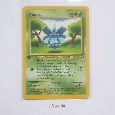 Pineco 1st edition - rare,MINT condition 61/75 pokemon card- neo discovery