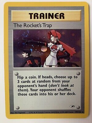 The Rocket's Trap Trainer 19/132 Gym Heroes Holo Rare Pokemon Card