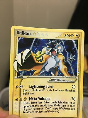 Pokemon Gold Star Raikou 114/115 Holo EX Unseen Forces Vintage *Sold As Is
