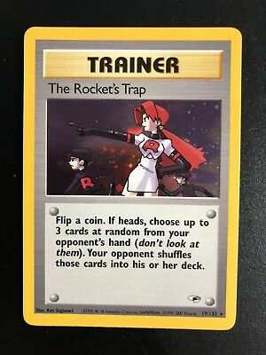 Pokemon Card The Rocket's Trap 19/132 Rare Holo Gym Heroes WIZARDS WOTC US