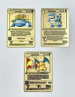 Metal Pokemon Cards Charizard Base Blastoise Venusaur Gold 1st ed, chose one