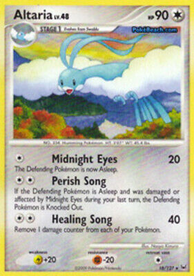 1x - Altaria - 18/127 - Rare - Reverse Holo LP, English Pokemon Platinum