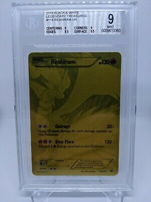 Pokemon Legendary Treasures Gold Reshiram 114/113 Secret Rare Beckett 9
