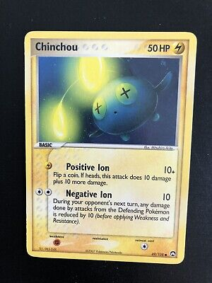 Pokemon Card Chinchou 49/108 Common Power Keepers BLOC EX US