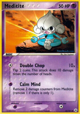 1x - Meditite - 65/101 - Common LP, English Pokemon EX Hidden Legends