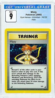 Misty 18/132 Gym Heroes Unlimited Holo Rare Trainer Pokemon 2000 CGC 9  *Not PSA