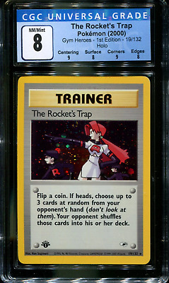 The Rocket's Trap - 19/132 - CGC 8 - 1st Edition - Gym Heroes - Pokemon - 48034