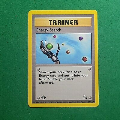 Near Mint 1st Edition Energy Search 59/62 Fossil Pokemon Card WOTC