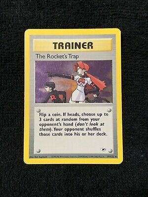 THE ROCKET'S TRAP TRAINER 1st Edition Pokemon Holo RARE 19/132 Gym Heroes NM/MT