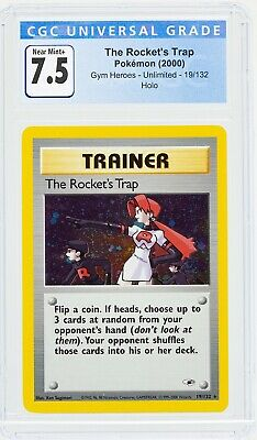 The Rocket's Trap 19/132 Gym Heroes Holo Pokemon Trainer  2000 CGC 7.5 *Not PSA