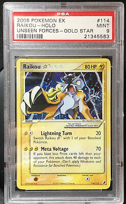 Pokemon TCG Card ⚡️Raikou Gold Star ⭐️ PSA 9 Shiny Ultra Rare 114 Unseen Forces