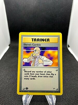 Blaine's Gamble Trainer 121/132 1st Edition Gym Heroes Trainer Pokemon Card TCG