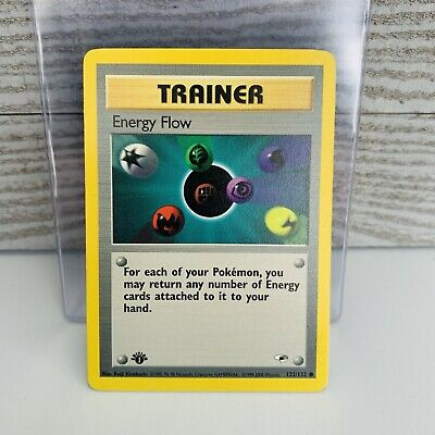 1x 1st Edition Energy Flow 122/132 TRAINER Gym Heroes Pokemon Card VG