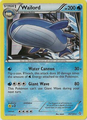 1x - Wailord - 26/124 - Holo Rare NM, English Pokemon Dragons Exalted