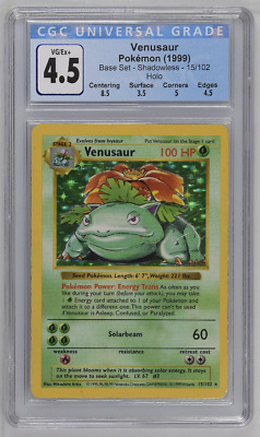 Pokemon 1999 Shadowless Base Set Venusaur #15 Holo CGC 4.5 VG/EX+