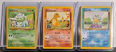 Pokemon OG Base Set Starters Charmander Squirtle Bulbasaur NM w/ Top Loaders