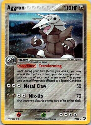 Aggron Pokemon Card Power Keepers Holo 01/108 Holographic 110 Hp Stage 2