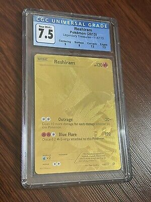 Pokemon CGC 7.5 Reshiram Gold 114/113 BW Legendary Treasures Compare to PSA BGS