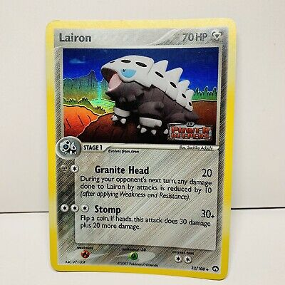 Lairon 32/108 Reverse Holo Stamped EX Power Keepers Pokemon Card