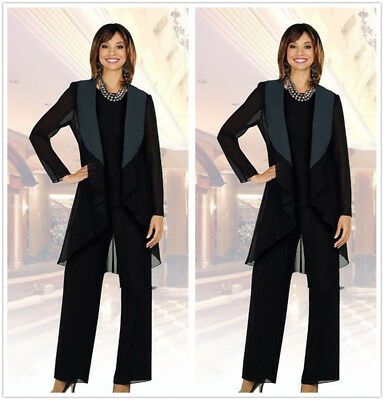 9004189e065 Chiffon Black Mother Of The Bride Pants Suits Plus Size Long Sleeve Jacket  3 Pcs