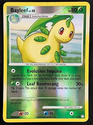 Pokemon Card Bayleef LV.28 Mysterious Treasures 41/123 PLAYED Reverse Holo TCG!!