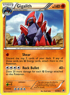 Emerging Powers Non-Holo Gigalith 53/98 Pokemon Trading Card LP NM