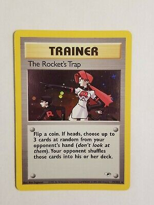THE ROCKET'S TRAP 19/132 Trainer Holo Rare Gym Heroes Pokemon Card Light Play