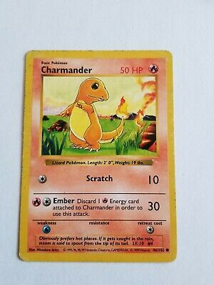 CHARMANDER 46/102 Shadowless Base Set WOTC Pokemon Card Played