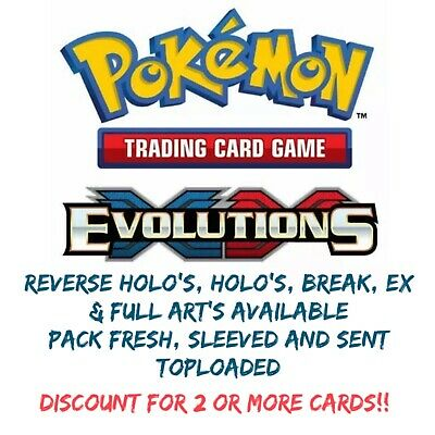 Pokemon Xy Evolutions Cards - Pack Fresh Toploaded - Reverse Holo's & Holo's
