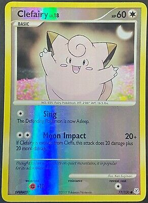 Pokemon Card Clefairy LV.18 Diamond & Pearl 77/130 EXCELLENT Reverse Holo Common